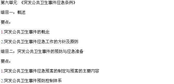 2018年中医执业医师卫生法规考试大纲