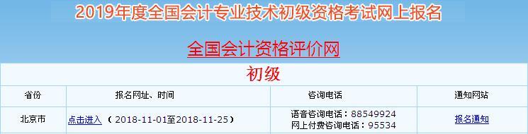 北京2019年初级会计职称考试报名入口