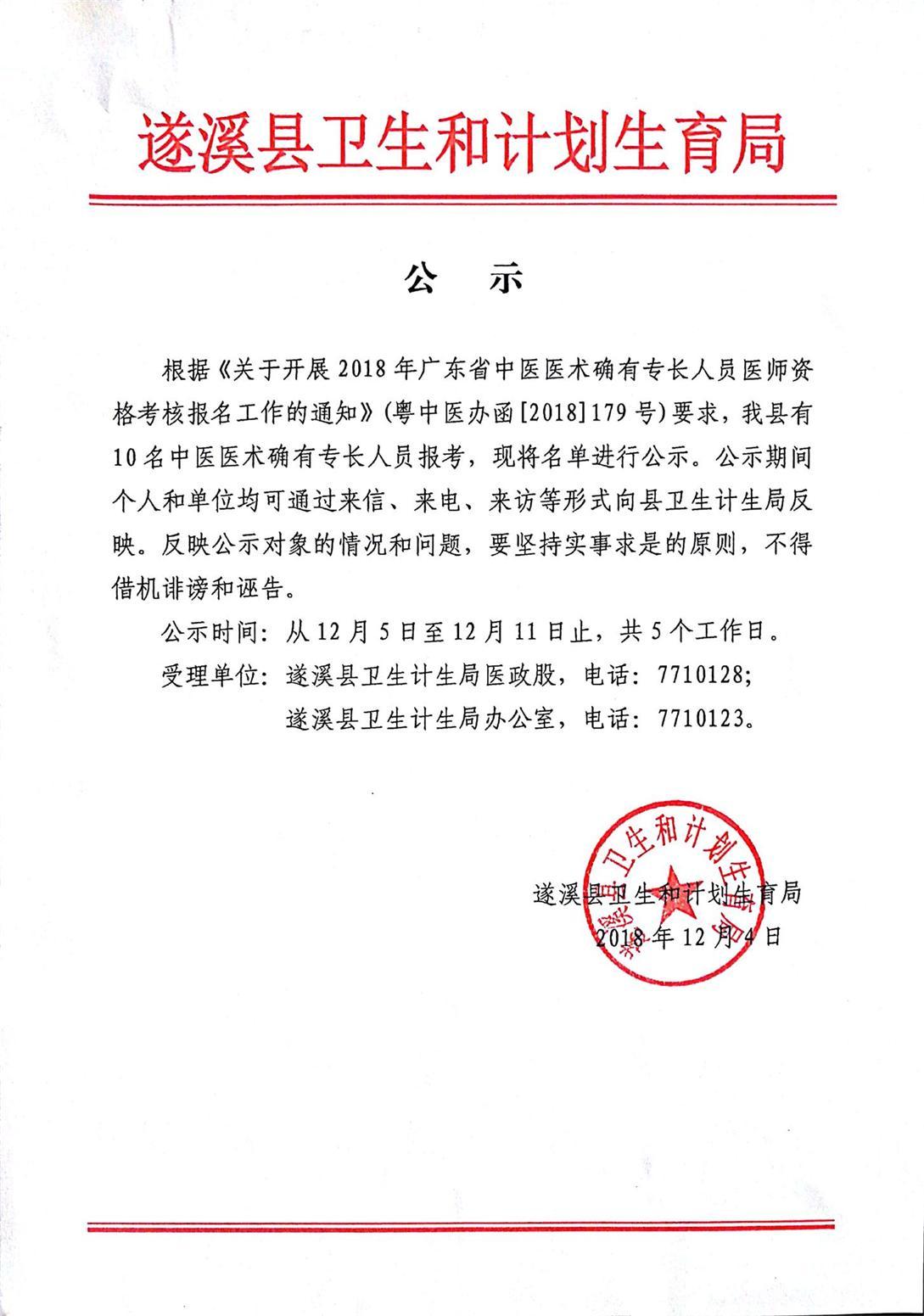2018年遂溪县报考广东省中医医术确有专长人员医师资格考核人员信息公示