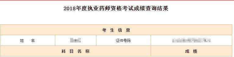 2018北京执业药师考试成绩