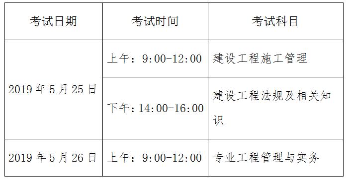 2019山東二級建造師考試科目時間安排