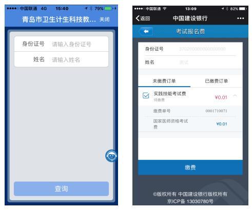 2019年山东青岛医师资格考试网上缴费界面