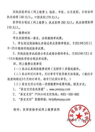 2019年江苏省医师资格考试报名网上缴费标准