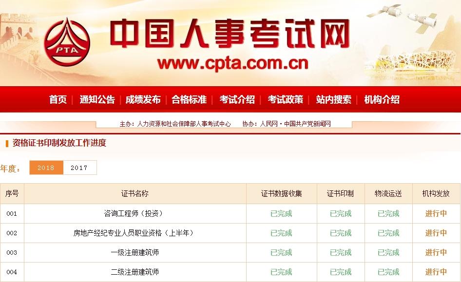 中國人事考試網:2018年一級建造師證書已開始印制