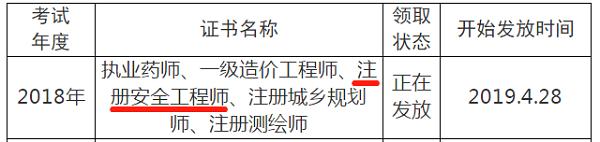 2018年四川眉山注册安全工程师证书领取通知
