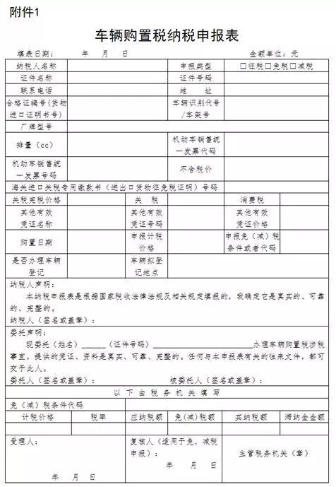 车辆购置税申报表调整7月1日启用新版