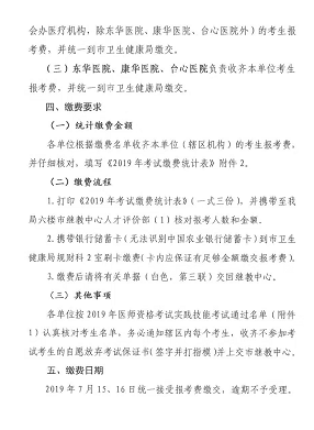 2019年东莞市临床执业医师考试笔试缴费标准