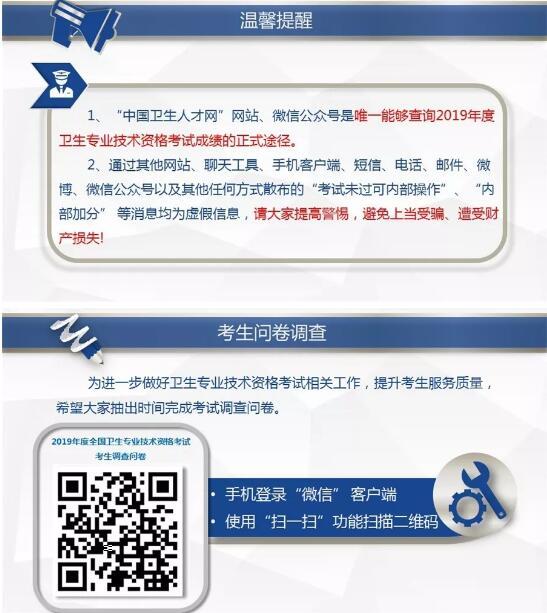 中国卫生人才网2019年卫生资格考试成绩查询温馨提示