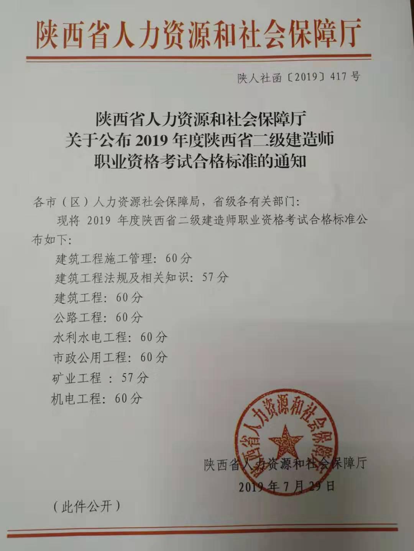 2019年陕西二级建造师合格标准