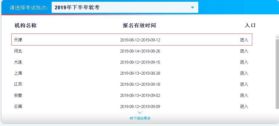 2019下半年天津软考报名入口