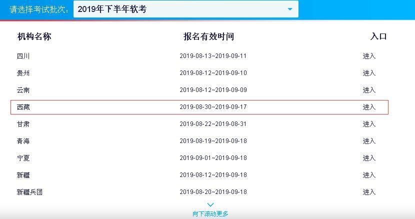 2019下半年西藏软考报名入口