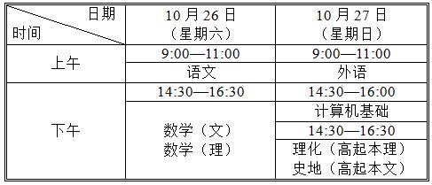 高起本、高起专考试时间表