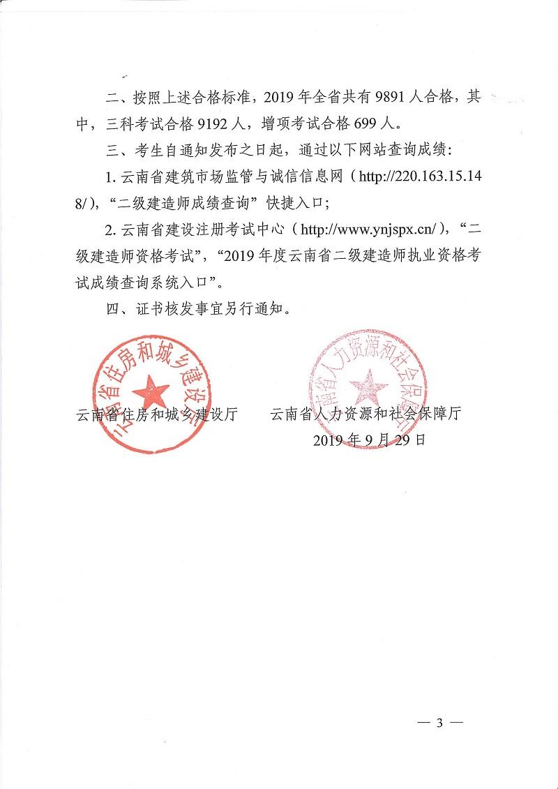 2019年云南二级建造师合格标准3
