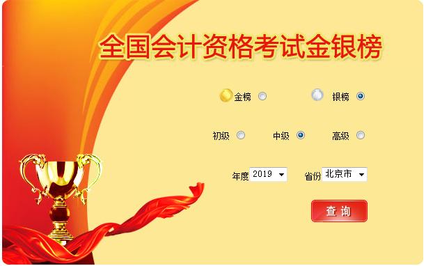 2019年北京中級會計職稱考試銀榜入口