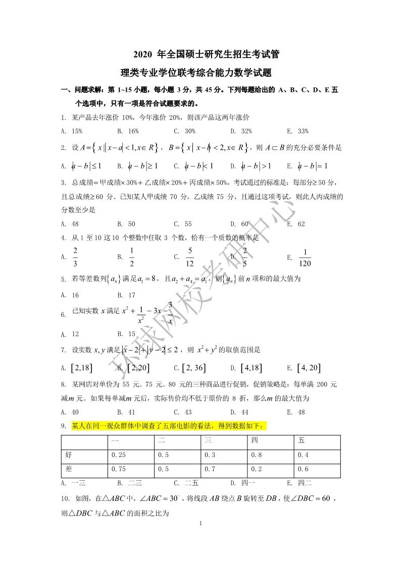 2020MBA管理类联考数学真题第一页
