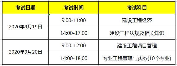 2020年天津一级建造师考试时间