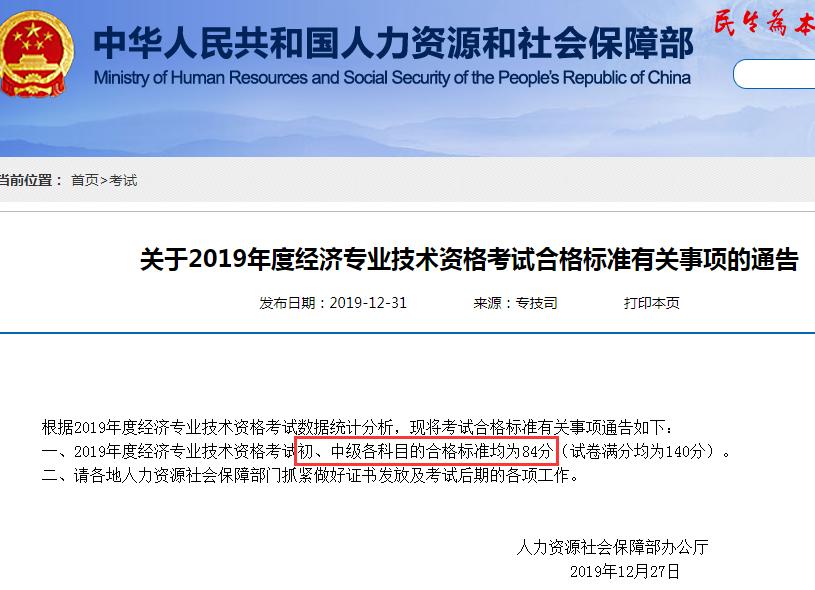 2019年初(chu)級(ji)經濟師考試合格標(biao)準有關事(shi)項(xiang)的通告
