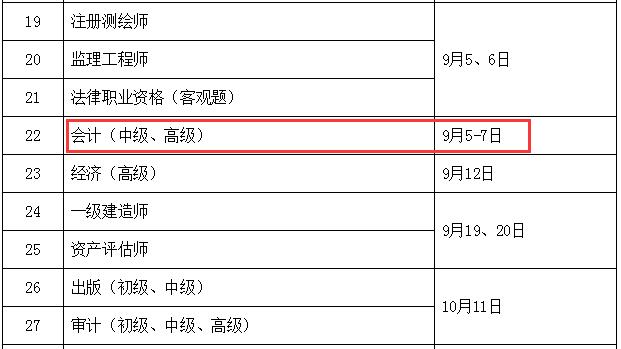 2020年北京中级会计考试时间为9月5日至7日