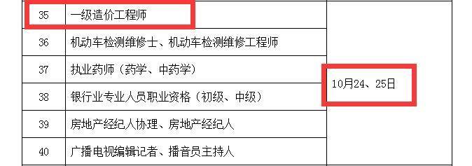2020年内蒙古一级造价工程师考试时间
