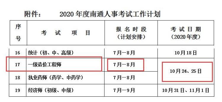 2020年南通一级造价工程师考试报名时段:7月-8月