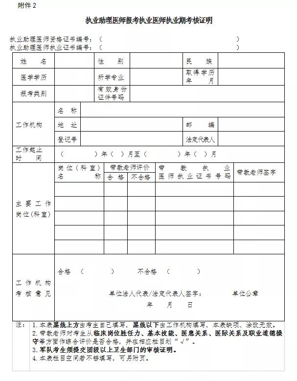 2020上海执业助理医师试用期考核证明