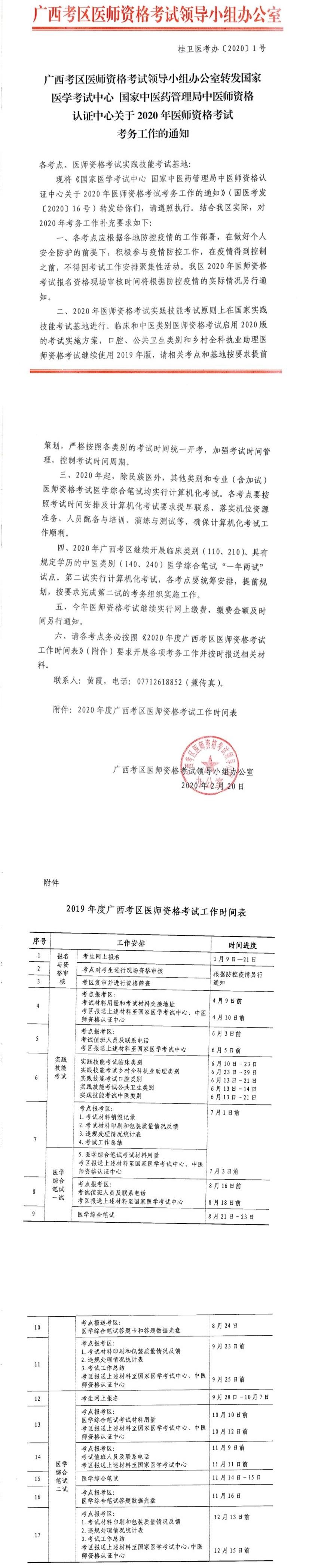 2020广西医师资格考试