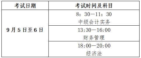 2020年北京中级会计职称考试时间