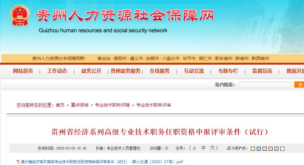 贵州省高级经济师申报评审条件(试行)