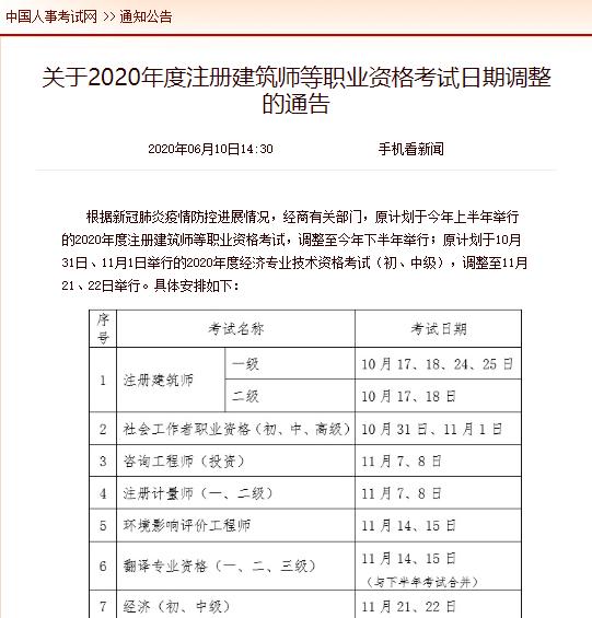 2020年湖北注册咨询工程师考试时间为11月7-8日