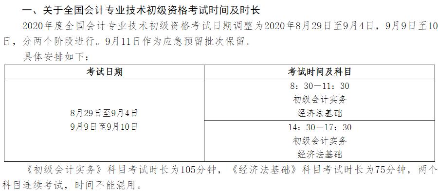 2020年初级会计考试时间通知