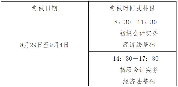 2020年江西省初級會計職稱考試時間