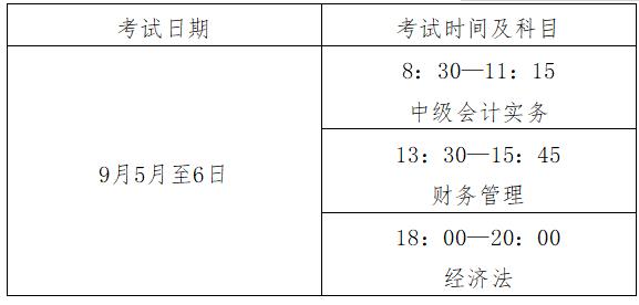2020年江西省中級會計職稱考試時間