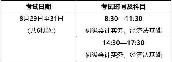 2020年海南考區初級會計職稱考試時間安排