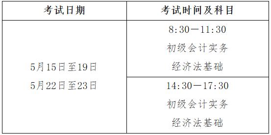2021年安徽省初级会计职称考试时间5月15日至19日,5月22日至23日