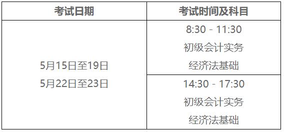2021年云南省初級會計考試時間5月15日至19日,5月22日至23日