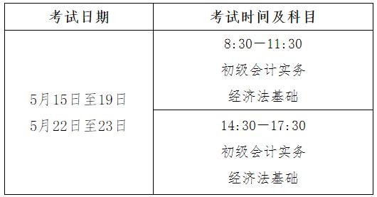 2021年四川初级会计职称考试时间5月15日至19日,5月22日至23日