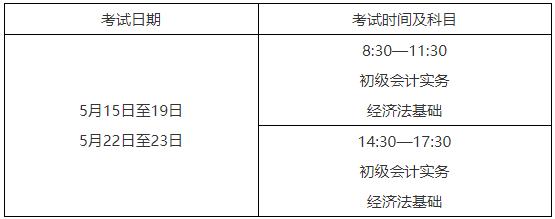 2021年浙江初級會計考試時間5月15日至19日,5月22日至23日