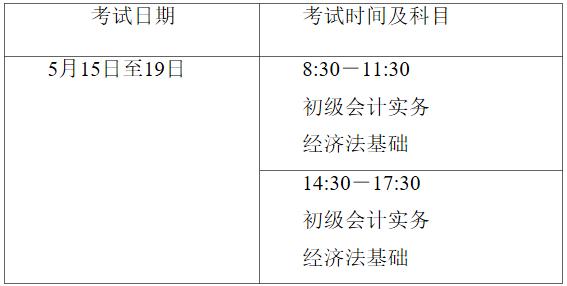 2021年海南初級會計考試時間5月15日至19日