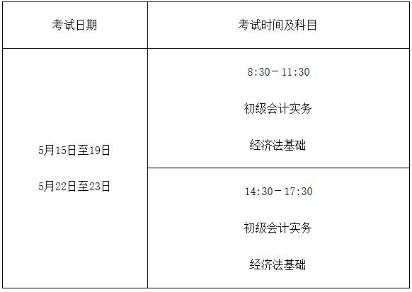 2021年河北初级会计考试时间5月15日至19日,5月22日至23日