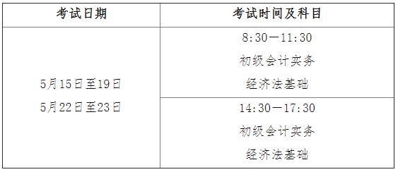 2021年初級會計考試時間5月15日至19日,5月22日至23日