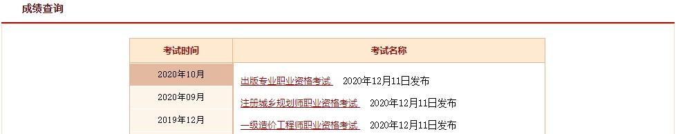 中國人事考試網成績查詢界面