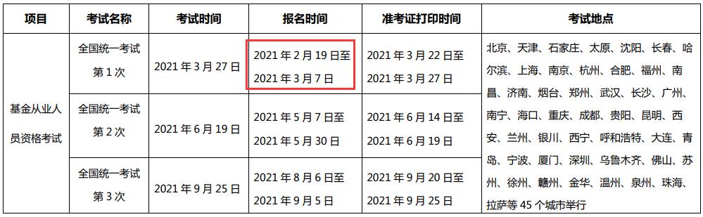 2021年基金从业全国统一考试报名时间