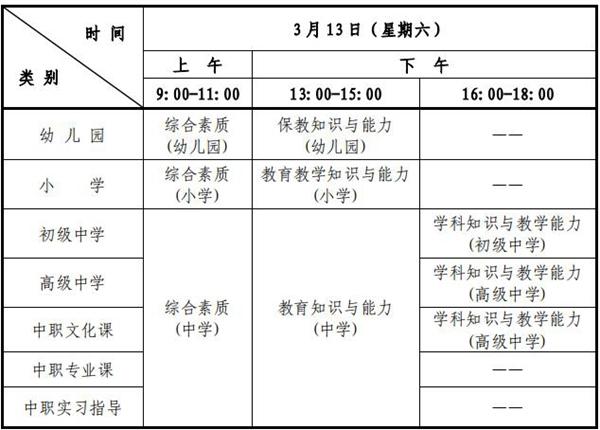 2021年上半年上海教师资格证笔试时间安排