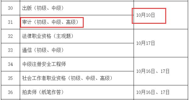 人社部公布:2021年度中级审计师考试时间计划(10月10日)