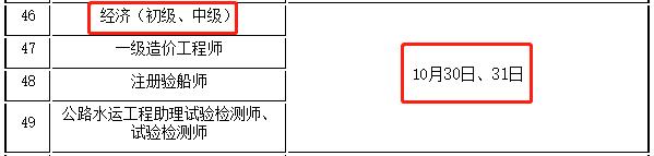 2021年度江苏中级经济师考试工作计划:10月30日、31日