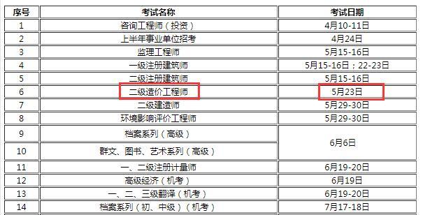 2021年浙江二级造价师考试时间