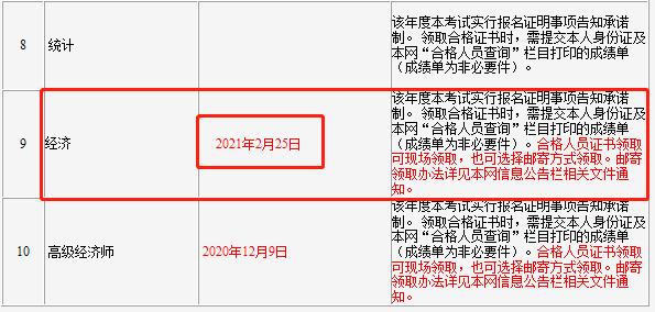 2020年吉林省直初级经济师考试证书领取时间:2021年2月25日