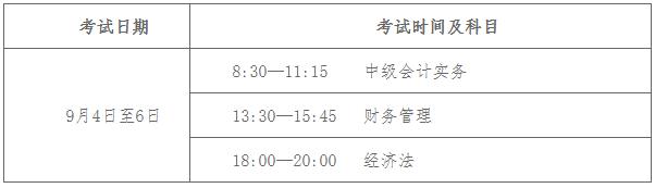 2021年邢台市清河县中级会计职称考试时间为9月4日至6日