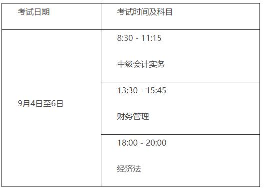 2021年北京市中级会计考试时间为9月4日至6日
