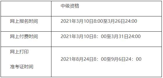 2021年北京市中级会计报名时间、缴费时间、资格审核时间安排